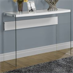 Hollow-Core Sofa Table in Glossy White with Tempered Glass