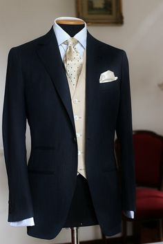 SARTORIA CRESENT — COSTUME FOR A GROOM  SUPER150's DARK BLUE SUIT +...
