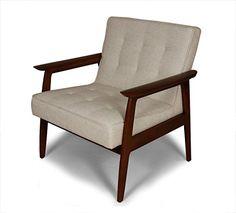 Midcentury Modern Control Brand Adrian Arm Chair, Off-White