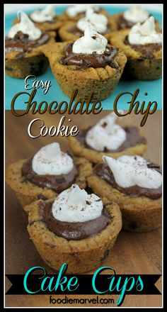 EASY 30 Min Chocolate Chip Cookie Cake Cups using store bought cookie dough and filled with pudding and topped with icing. Just like the chocolate chip cookie cakes at the mall!