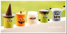 so cute - cover playdough containers to make them into cute halloween characters. great tutorial at The Idea Room