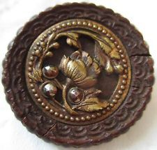 Incredible LARGE Antique~ Vtg Carved Wood & Metal Picture BUTTON w/ Cut Steels
