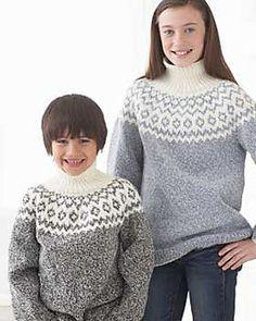 Bernat Denimstyle yoke sweater for kids with a classic and simple fair isle pattern. (Bernat.com)