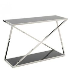 STAINLESS STEEL CONSOLE W_BLACK GLASS IN SILVER COLOR 120X40X80