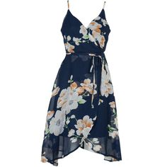 Dark Blue Wrap V-neck Floral Cross Backless Asymmetric Dress ($25) ❤ liked on Polyvore featuring dresses, blue dress, floral dresses, flower print dress, blue v neck dress and deep blue dress