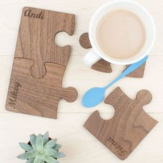 #lasercut #fav [Personalised Wooden Gift Set Of Four Walnut Coasters]