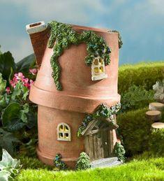 Miniature Fairy Garden Solar Flower Pot Fairy Home Mini Fairy Garden, Fairy Garden Houses, Diy Garden, Gnome Garden, Fairy Gardening, Fairies For Fairy Garden, Garden Projects, Organic Gardening, Flower Gardening