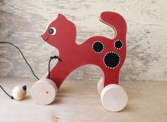 Wooden pull along toy Cat in red handmade hand-painted animal