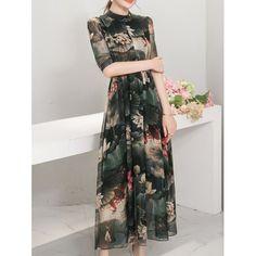 9607c7aa51  22.25 Elegant Stand Collar 1 2 Sleeve Floral Print Women s Maxi Dress  Cheap Dresses