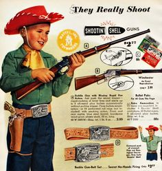 Mid-Century suburbia was overrun with pint size gunslingers. After all, toy guns protected cowpokes on the dangerous back yard plains. Ricocheting bullets, exploding grenades and caps firing were …
