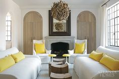 In her Peachtree Heights home, sunny yellow accents add pizazz to an otherwise neutral scheme in the living room. Since appearing in AH&L in 2009, Douglass' home has gone on to be featured in the Brazilian, Russian and French editions of Elle Decoration.