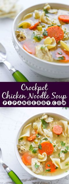 Crockpot Chicken Noodle Soup - comforting, hearty soup that is super easy to make.