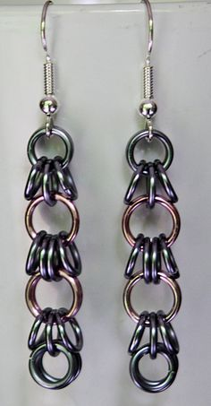 Pink and Black Ice Chainmail Earrings