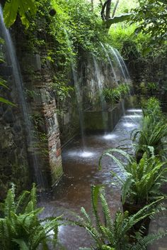 A #naturalstone wall is right at home as the backdrop for this jungle-like garden | Bored Art #waterfeature