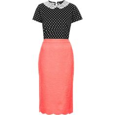 """""""Coral and dots"""" by lizzbiz on Polyvore"""