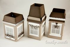 Site is in German, so you will need a translator. The boxes start with the Gift Bag punch board, cut the windows out using a die and adding parchment behind the windows. She places a tea light inside for a wonderful glowing window. Christmas Paper Crafts, Stampin Up Christmas, Christmas Crafts, Crafts To Do, Diy Crafts, Envelope Punch Board, Stampin Up Catalog, Light Crafts, Jingle All The Way