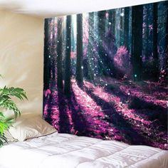 Sunlight Forest Flowers Print Tapestry Wall Hanging Art - TUTTI FRUTTI W91 INCH * L71 INCH