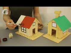 How to Make Popsicle Stick House for 🐹Hamsters🐹 Home Design & DIY Project . How to Make Popsicle Stick House for 🐹Hamsters🐹 Home Design & DIY Project . - How to Make Popsicle Stick House for 🐹Hams Kids Crafts, Crafts For Teens To Make, Diy Home Crafts, Easy Crafts, Easy Diy, Popsicle Stick Crafts For Kids, Popsicle Stick Houses, Craft Stick Crafts, Resin Crafts