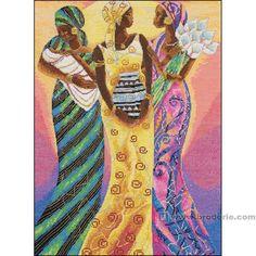 0 point de croix femmes africaines - cross stitch african women 36x52 cm aïda 7