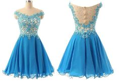 A-line Lace Appliqued Blue Tulle Chiffon Homecoming Dresses,Off the shoulder prom dress,Cute dress