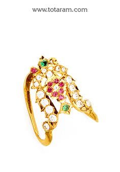 22K Gold Vanki Ring With Red Stone Indian Gold Rings Pinterest