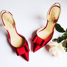 red kate spade bow sling backs