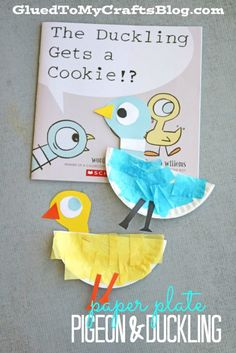 Who doesn't love Mo Willems and his quirky pigeon? Paper Plate Pigeon and Duckling - Kid Craft Kids Sports Crafts, Toddler Crafts, Preschool Crafts, Kids Crafts, Preschool Books, Preschool Christmas, Christmas Crafts, Paper Plate Art, Paper Plate Crafts For Kids