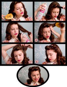 "'40s  ""victory curls"" hair tutorial. So cute!"