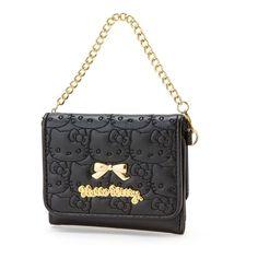 Sanrio Hello Kitty Women Leather Mini Wallet Purse Face Stitch Black Chain Strap