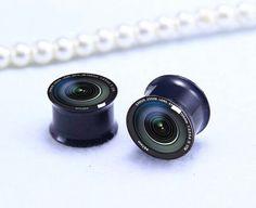 Pairs Camera  lens  ear Plug   Screw on  Black by zhbracelet, $12.99
