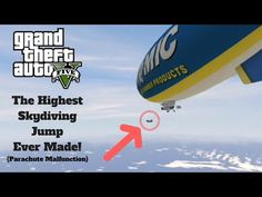 Grand Theft Auto AWESOME GTA 5 STUNT The Highest Skydiving Jump Ever Made - Parachute Malfunction - YouTube