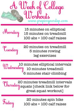 "Weekly (Gym) Workout Routine ""Fit"" For a College Girl (via Bloglovin.com )"