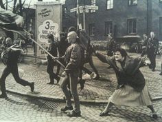 combatbootsoftolerance:sonounsoffione:A woman hitting a neo-nazi with her handbag, Sweden, 1985. The woman was reportedly a concentration camp survivor.She was, yes. Her name was Danuta Danielsson and she was originally from Poland. Her parents died in a concentration camp. The nazi was later found guilty of murdering a homosexual man. There have been propositions for a statue portraying Danuta in her home town of Växjö but this idea has been opposed by a lot of establishment politicians…