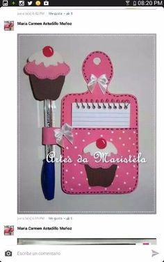 Notepad with pen . Kids Crafts, Foam Crafts, Diy And Crafts, Arts And Crafts, Paper Crafts, Sewing Crafts, Sewing Projects, Projects To Try, Post It Note Holders