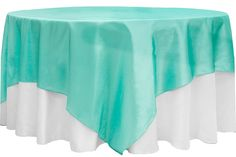 """Taffeta Table Overlay Topper 90""""x90"""" Square - Turquoise ● As Low as $5.79"""