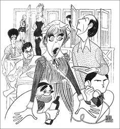 "Al Hirschfeld ~ Deborah Rush, Jim Piddock, Paxton Whitehead, Victor Garber, Douglas Seale, Brian Murray, Linda Thorson, and Dorothy Loudon in ""Noises Off"""