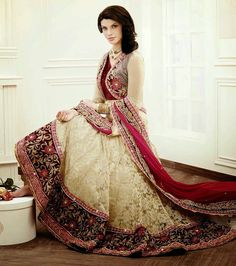 Z Fashion Trend: STUNNING CREAM AND MAROON NET EMBROIDERED WEDDING ...