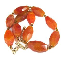 Orange Fire Agate Statement Necklace Large Gemstones Gold Accents | TheSingingBeader - Jewelry on ArtFire