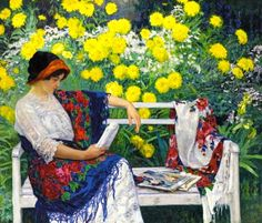 Reading in the Garden Nikolai Petrovich Bogdanov-Belsky (Russian, Oil on canvas. The portrait of a woman reading in a garden showcases Bogdanov-Belsky's skill at conveying a most. Russian Painting, Russian Art, Illustrations, Illustration Art, Book Art, Good Morning Girls, Retro Poster, Books To Read For Women, School Portraits