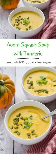 Acorn Squash Soup with Turmeric - creamy and delicious.  Make it ahead and eat healthy all week.  {paleo, gluten free, whole30, dairy free, vegan}: