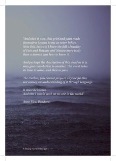 Quote about grief - taken from Pandora by Anne Rice