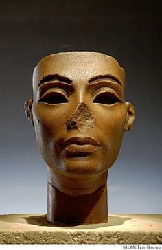 """From """"Tutankhamun and the Golden Age of the Pharaohs"""" (2009)Face from a Composite Statue of Nefertiti. Dynasty 18, reign of Akhenaten (1353-1336 BC). Brown quartzite. Egyptian Museum, Cairo."""