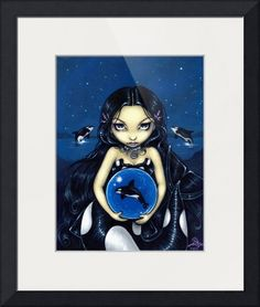 """Orca Magic"" by Jasmine Becket-Griffith, Celebration, Florida // A custom painting I did for a lady who loves Orca!  This mermaid has a beautiful orca like tail, a magical orca orb, and you can even see some killer whales breaching in the background, too!  My own original acrylic painting. // Imagekind.com -- Buy stunning fine art prints, framed prints and canvas prints directly from independent working artists and photographers."