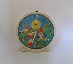 Vintage Smiths Noddy and Big Ears Alarm Clock Picture Clock, Price Of Stamps, Bedside Clock, Wood Nursery, Vintage Gifts, Vintage Clocks, Clock Decor, Christmas In July, How To Antique Wood