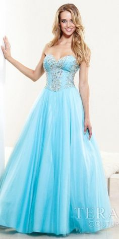 Long Classic Sequined Bodice Full Tulle Skirted Long Prom Dresses by Terani Couture-image