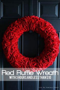 red ruffle wreath tutorial