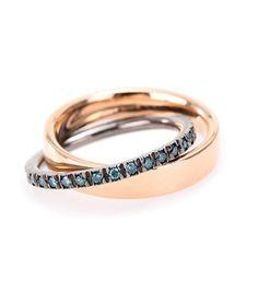 Roberto Marroni - Anello in oro rosé 18kt e diamanti blu-