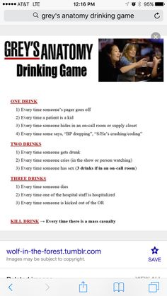 Greys anatomy drinking game