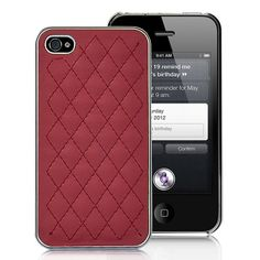 Grid Pattern Leather Coated Hard Case For iPhone 4S - Red