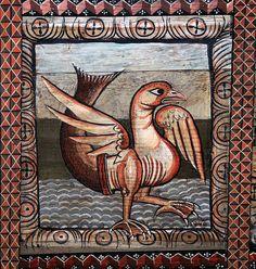 Goose with fish's tail, Deckenmalerei (1109/14), Kirche St. Martin, Zillis, Graubünden, Schweiz